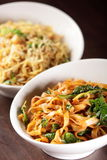 Hot chinese spaghetti with garnish Stock Images