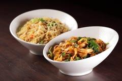 Hot chinese spaghetti with garnish Royalty Free Stock Photography