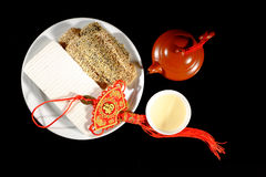Hot Chinese tea and desserts Royalty Free Stock Image
