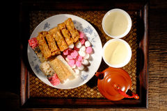 Hot Chinese tea and desserts Stock Photo