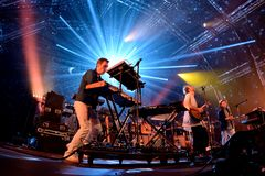 Hot Chip electronic music band live performance at Sonar Festival. BARCELONA - JUN 19: Hot Chip electronic music band live performance at Sonar Festival on June Royalty Free Stock Photography
