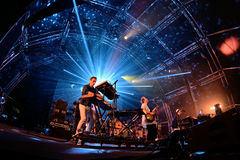 Hot Chip (electronic music band) live performance at Sonar Festival. BARCELONA - JUN 19: Hot Chip (electronic music band) live performance at Sonar Festival on Royalty Free Stock Image