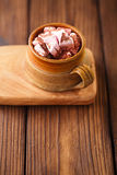 Hot chocolat vintage mug, topping with marshmallow Stock Photography