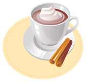 Hot chocolate. Cap of hot chocolate with whipped cream and cinnamon stock illustration