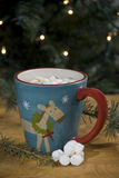 Hot chocolate. Cup of hot cocoa in a christmas mug Royalty Free Stock Photography