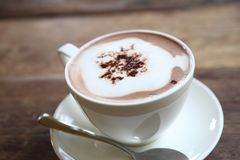 Hot chocolate drink. Hot chocolate in close up royalty free stock photo
