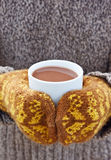 Hot chocolate. In the hands Royalty Free Stock Photo