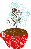 Hot chocolate. Cup of hot chocolate on floral background stock illustration