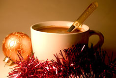 Hot Chocolate. With Christmas Ornament Stock Photography