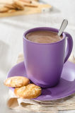 Hot chocolate with almond cookies Stock Images
