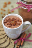 Hot chocolate with biscuits Royalty Free Stock Photo