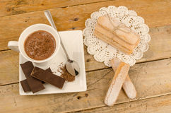 Hot chocolate and biscuits Stock Image