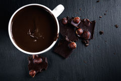 Hot chocolate with bitter chocolate On a black chalkboard. Hot chocolate with bitter chocolate. On a black chalkboard royalty free stock photography