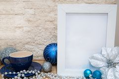 Hot chocolate, blue and silver Christmas decoration, mock up. royalty free stock image