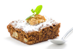 Hot chocolate brownie with walnuts and vanilla Royalty Free Stock Photos