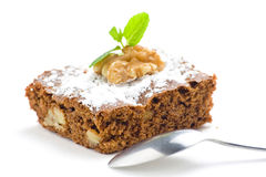 Hot chocolate brownie with walnuts and vanilla Stock Image