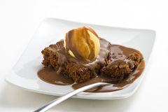 Hot chocolate brownie with walnuts and vanilla Stock Photo