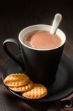 Hot chocolate with butter cookies Stock Image