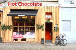 Touristic Hot Chocolate pub at the Dam Square, Amsterdam,Netherlands Royalty Free Stock Photography
