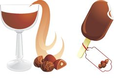 Hot chocolate with candies and ice cream Stock Image