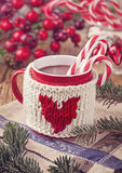 Hot chocolate with candy cane Stock Photo