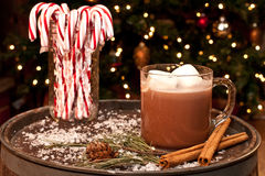 Hot Chocolate and Candy Canes. On an old vintage barrel Stock Photos