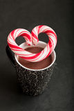 Hot chocolate and candy heart stock photo