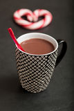 Hot chocolate and candy heart Royalty Free Stock Photography
