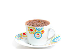 Hot chocolate cappucino in white mug for christmas  on w Royalty Free Stock Photography