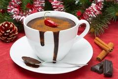 Hot chocolate with chili, cinnamon for Christmas Royalty Free Stock Photo