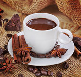 Hot Chocolate In White Cup And Chocolate Chips Stock Images - Image ...