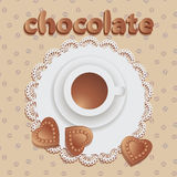 Hot chocolate with chocolate hearts. Composition on the napkin with lace and fabric with a pattern of coffee beans. Vector image vector illustration