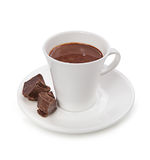 Hot chocolate and chocolate pieces isolated on white background Royalty Free Stock Photography