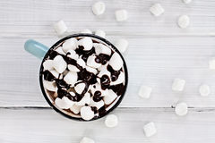Hot Chocolate with Chocolate Sauce and Marshmallows Stock Image