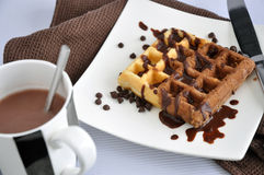 Hot Chocolate with Chocolate Waffle on Plate Stock Images