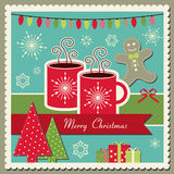 Hot chocolate Christmas card Stock Photo