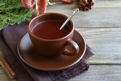 Hot chocolate for Christmas in a cup Royalty Free Stock Photography