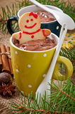 Hot chocolate and Christmas gingerbread Stock Image