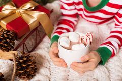 Hot chocolate at christmas time Royalty Free Stock Images
