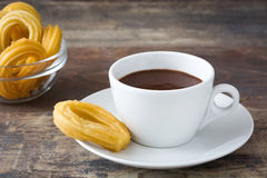 Hot chocolate with churros. Spanish breakfast Royalty Free Stock Photography