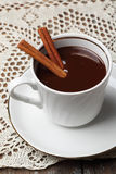 Hot chocolate with cinnamon royalty free stock photography