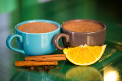 Hot chocolate with cinnamon Royalty Free Stock Photo