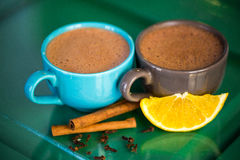 Hot chocolate with cinnamon Stock Photos