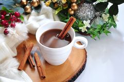 Hot Chocolate with Cinnamon Stick Cup Decorated in Winter Concept. Hot chocolate with cinnamon stick on wooden board decorated in winter concept on background stock photography