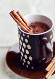 Hot chocolate with cinnamon sticks Stock Image