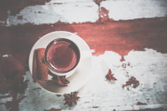 Hot chocolate with cinnamon, vintage photos Royalty Free Stock Image