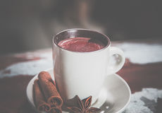 Hot chocolate with cinnamon, vintage photos Stock Images