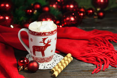 Hot chocolate or cocoa beverage with cinnamon and gingerbread cookies in snow vintage wooden table background. Royalty Free Stock Photos