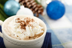 Hot Chocolate Cocoa on Blue Background Stock Images