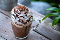 Free Hot Chocolate Cocoa In Glass Mug With Whipped Cream Royalty Free Stock Photos - 147186828